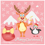 Merry Christmas Greeting card with Deer and Penguin vector