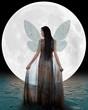 Ice fairy walking into the moon (lighter version)