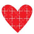 Puzzle heart, symbol of human feelings
