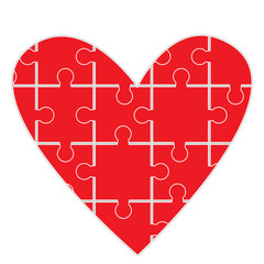 Puzzle heart, symbol of human feelings