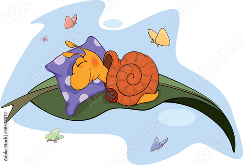 Sleeping snail cartoon