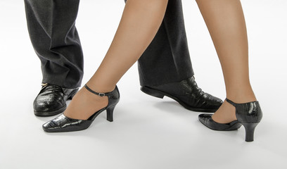 Pair feet in a ballroom