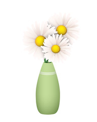 Three Daisies in a Green Vase