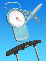 Air travel weight limits concept, 3D render