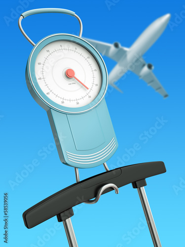 Air travel weight limits concept, 3D render
