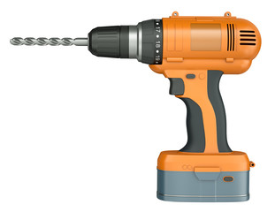 Orange cordless drill isolated on a white background. 3D render.