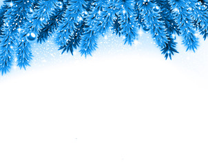 Fir blue christmas background.