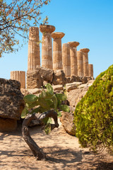 Ruins of Ercole temple in Agrigento, Sicily island, Italy
