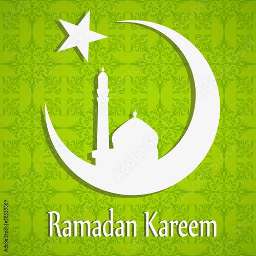 Silhouette of Mosque, Ramadan Kareem concept.