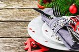 Fototapety Christmas table setting