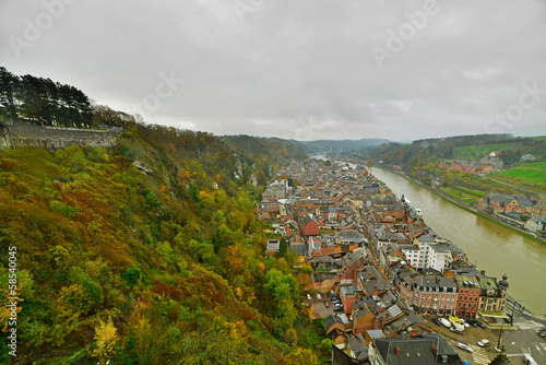 Top view of the city of Dinant on a cloudy day. Seen from the fo