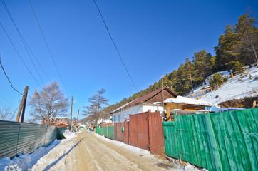 Group of houses. Listvyanka settlement, Lake Baikal, Russia.