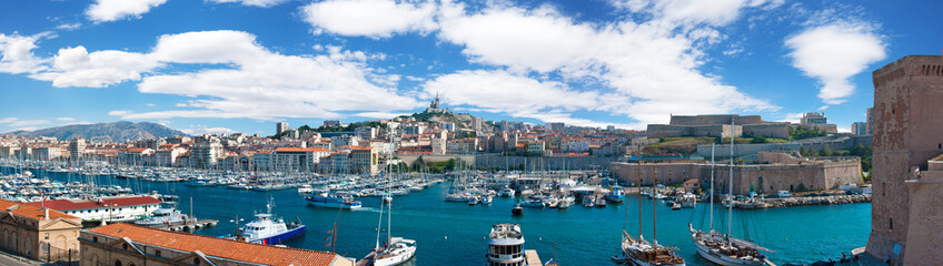 Panoramic view of the Vieux port of Marseille, France