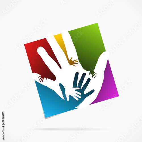 Abstract palm hand logo symbol vector illustration