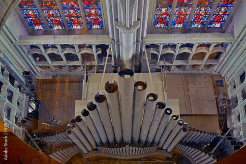 Top view of church pipe organ. Sint Rombout cathedral of Mechele