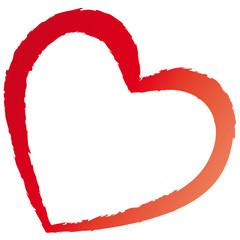 Rotes Herz mit rissigen Kanten