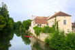Village Noyers with river Serein