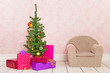 Vintage room with Christmas tree, gifts and chair