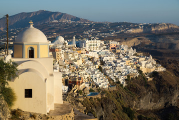 Panoramic view of the Fira town during sunset, Santorini, Greece