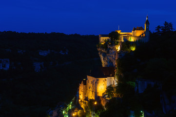 Pilgrimage village rocamadour by night
