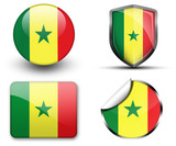 Senegal flag button sticker and badge