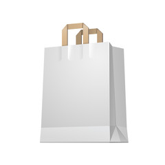 Carrier Paper Shopping Bag White Empty EPS10