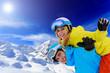 Skiing, winter sports, couple having fun on ski