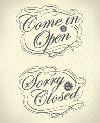 Image of various open and closed  signs