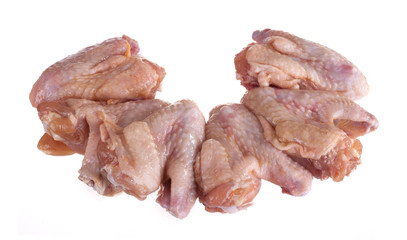 .fresh chicken wings isolated on white background