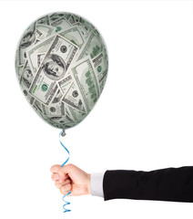 Money investment concept with balloon