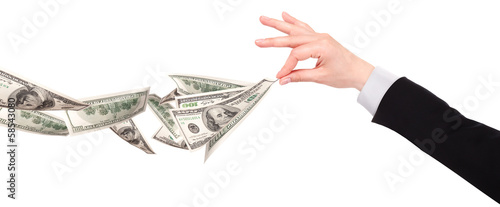 Businessman's hands with dollars isolated
