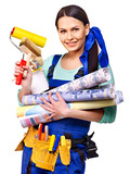 Builder woman with wallpaper.