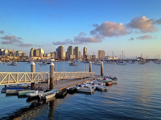 San Diego Skyline and Harbor at Sunset California America