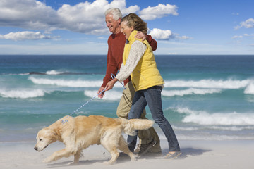 Senior couple with dog walking on sunny beach