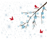 vector snow branch with red birds