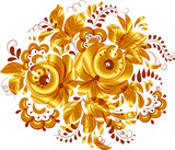 Golden isolated vector floral element