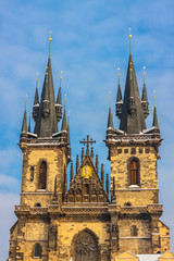 Church of Our Lady before Tyn in evening in Prague,
