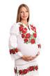 Beautiful pregnant woman in Ukrainian style dress over white