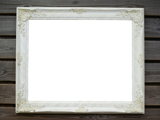 White blank wooden antique frame on wood background