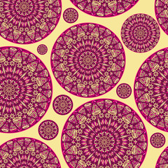 Pink Seamless Pattern with Round Mandala