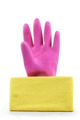 pink rubber gloves and yellow rag isolated on white background