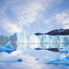 Glacier and icebergs.