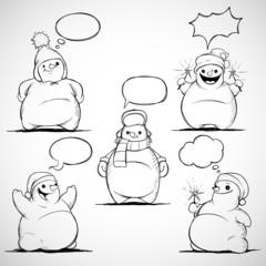 Set of five cartoon snowman with speech bubbles