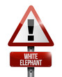 white elephant warning road sign illustration