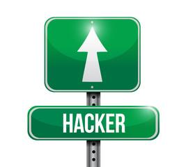 hacker road sign illustration design