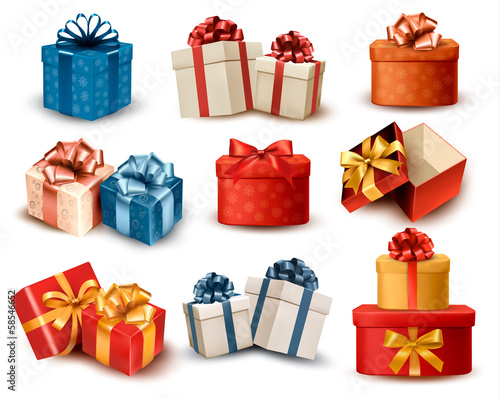Set of colorful retro gift boxes with bows and ribbons. Vector i - 58546652
