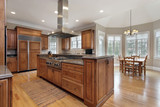 Kitchen with wood and granite center island