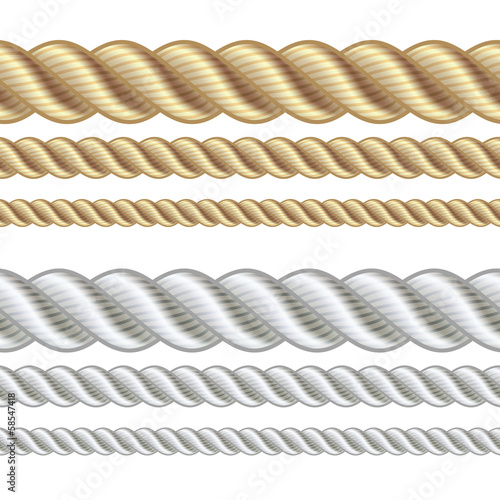 Set of different thickness ropes