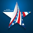 4th July American Independence Day star in American Flag blue ba