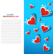 4th july american independence day hearts with star vector backg